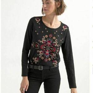 Lucky Brand XL Black Floral Long Sleeve Tee 7AK31